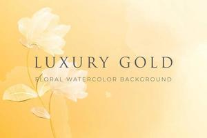 Watercolor floral background with yellow gold pastel concept vector