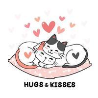 Lindos gatos de San Valentín abrazándose con corazones vector