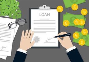 manos de empresario firmando documento de préstamo vector