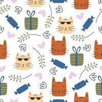 patrón sin fisuras con lindos gatitos coloridos gato. textura infantil creativa. ideal para tela, ilustración vectorial textil.