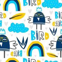 pájaro escandinavo dibujo de patrones sin fisuras, ilustración vectorial para bebés y niños moda textil listo para imprimir.
