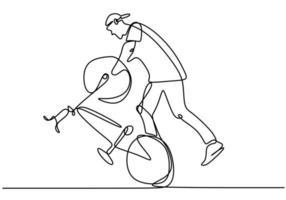 Un solo dibujo de línea continua de un joven ciclista muestra un soporte de estilo libre en una bicicleta. truco extremadamente arriesgado. Ilustración de vector de diseño de dibujo de una línea para estilo libre