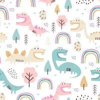 Patrón sin costuras de dinosaurio infantil para ropa de moda, tela, camisetas. dibujado a mano. ilustración vectorial para bebé y niños impresión textil, estilo escandinavo. vector