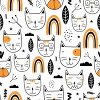 Seamless pattern with cute colorful Kittens scandinavian drawing. Creative childish hand drawn unique style. Good for baby and kids fashion textile print. Vector illustration element fabric ready.