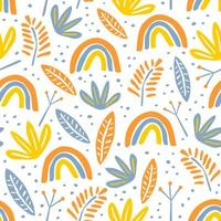 Floral drawing seamless pattern. Botanical hand drawn ink texture, handmade childish style with colorful background. vector