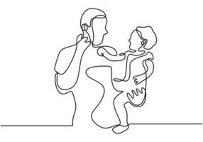 Papá de una sola línea dibujada continua y lanza a un niño pequeño a mano. reír junto con el bebé. feliz jugando con su bebé. ama a su bebé. ilustración vectorial