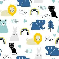 Childish pattern with safari animal, lion, rabbit, cat, and elephant. Cute decoration scandinavian style with colorful pastel colors. Good for kids fashion textile print.