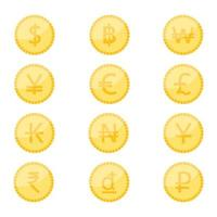 Coin currency symbol icon set