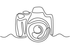 dibujo de una línea de estilo lineal de cámara. imagen negra aislada sobre fondo blanco. dibujado a mano ilustración de vector de estilo minimalista