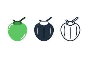 Cute coconut icon set