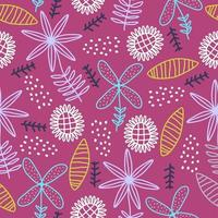 Seamless repeat pattern with flowers and leaves, scandinavian childish drawing background. Hand drawn fabric, gift wrap, wall art print. Vector illustration repeated cute design.