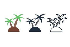 conjunto de iconos de árbol de coco