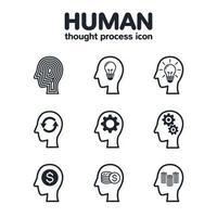 Human thought process icons set