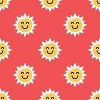 Seamless smiling sun pattern background