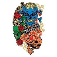 colored, vintage grunge skull vector