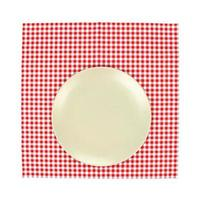 Plate on red tablecloth