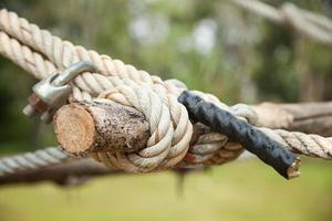Rope fastened to the timber