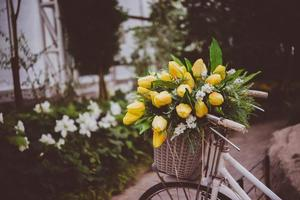 Basket with flowers on an urban street