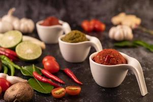 Red curry paste made from chilis
