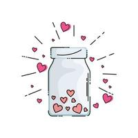 bottle with cute hearts isolated icon vector