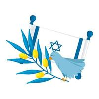flag israel and bird with olive branch vector
