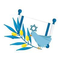 bandera de israel y pájaro con rama de olivo