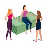 hermosas mujeres con billetes de pila finanzas