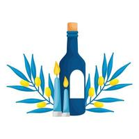 bottle of wine with branches and candles isolated icon