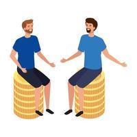hombres jóvenes, sentado, en, pila, monedas, aislado, icono