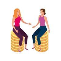 Hermosas mujeres sentadas en pila icono aislado de monedas