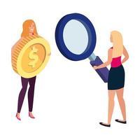 hermosas mujeres con moneda y lupa
