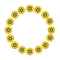 frame circular of stars david isolated icon vector