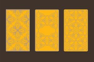 Back of tarot cards decorated with ornamental graphics vector