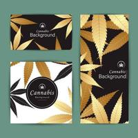 Banner background card set of cannabis leaves vector