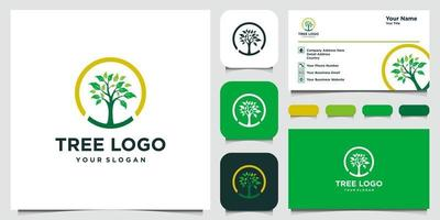 Tree icon elements. Green garden logo template and business card vector