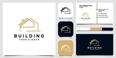 diseño de logotipo de construcción en arte lineal. diseño de logotipo y conjunto de tarjetas de visita.