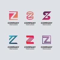set monogram letter z logo design