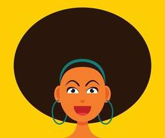Woman Smiling Face with Afro Hair Style.