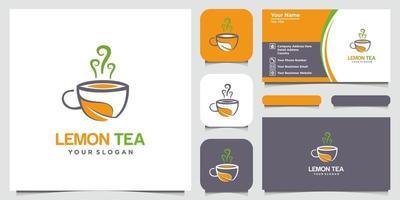 limón y taza de té logotipo abstracto y diseño de tarjeta de visita