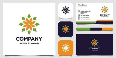 diseño de logotipo de flor abstracta con logotipo de estilo de arte lineal y tarjeta de visita