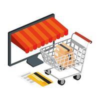 carrito de compras y computadora con iconos