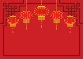 Red Wallpaper of Chinese Lanterns. vector