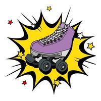 roller skate of nineties in explosion pop art