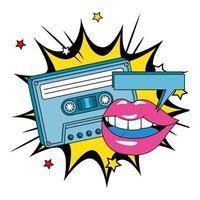 casete de los noventa con labios en explosión pop art