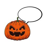 halloween pumpkin with speech bubble pop art style vector