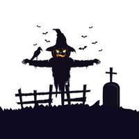 espantapájaros halloween con cuervo y tumba vector