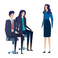 elegant business people workers in office chairs