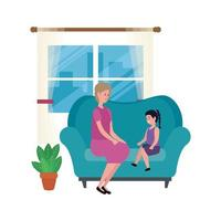 cute grandmother with granddaughter in the sofa characters