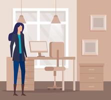 elegant businesswoman worker in the office vector
