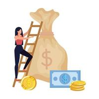 woman with money bag and stairs